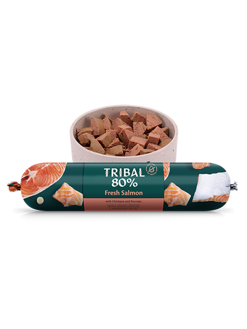 Tribal Gourmet Sausage - 80% Salmon - Grain Free 750g -  Made in UK