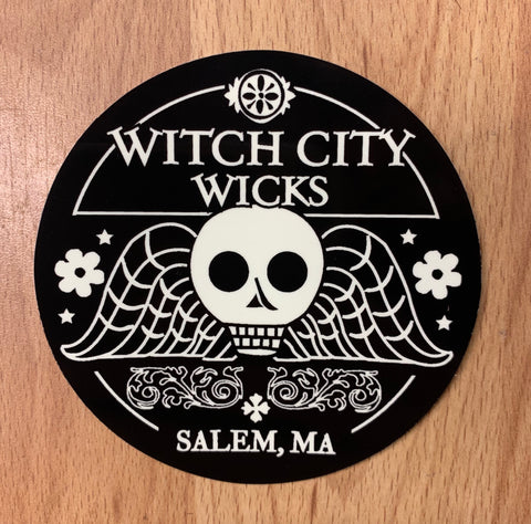 Witch City Wicks glow in the dark sticker