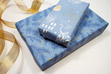 Uncoated Under the Mistletoe French Blue/Gold Gift Wrap