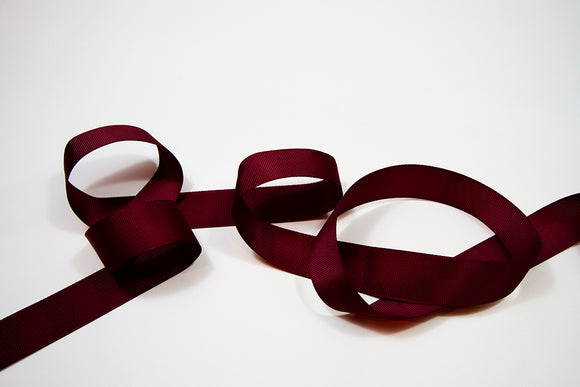 Plain Grosgrain Burgundy Ribbon - 25mm 5 metres