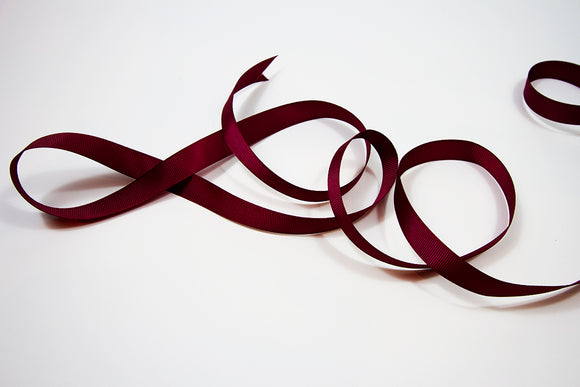 Plain Grosgrain Burgundy Ribbon - 15mm 3 metres
