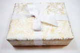 Uncoated Fleur de Noel Gold and White Gift Wrap