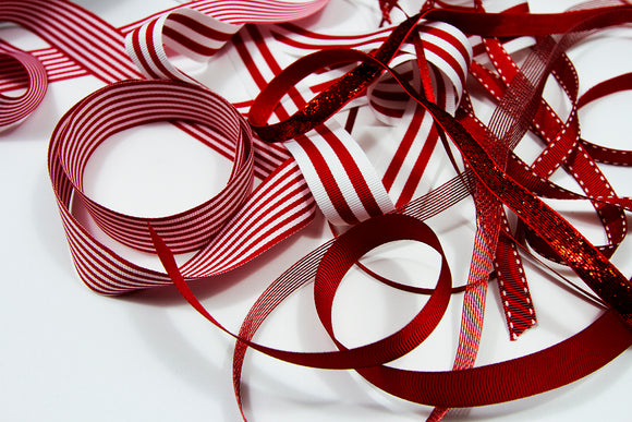 All Wrapped Up mixed ribbon pack - Red and White 16 metres