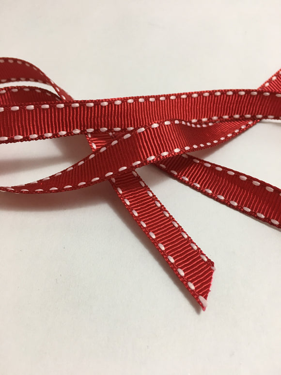 Grosgrain Red and White stitch Ribbon - 10mm