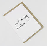 and baby makes ... A6 Card-Gift Card-white linen-dear mabel