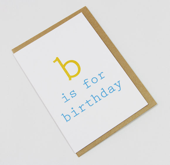 b is for birthday (yellow/blue) A6 Card-Gift Card-yellow & blue-dear mabel