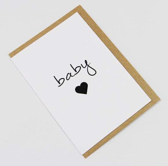 Baby Heart A6 Card-Gift Card-white linen-dear mabel