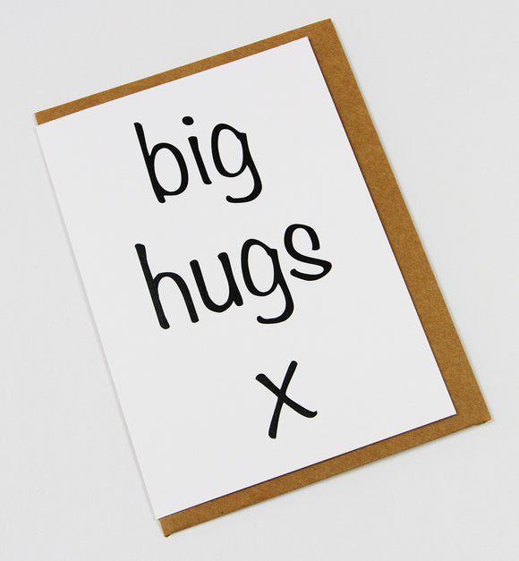 big hugs x A6 Card-Gift Card-white linen-dear mabel