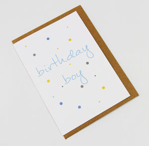 Birthday Boy (coloured spots) A6 Card-Gift Card-white linen-dear mabel