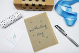 Birthday Boy (crosses) A6 Card-Gift Card-white linen-dear mabel