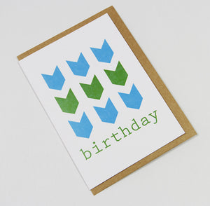 birthday chevrons (blue/green/blue) A6 Card-Gift Card-blue green blue-dear mabel