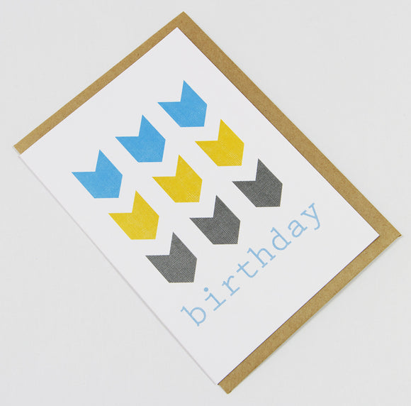 birthday chevrons (blue/yellow/grey) A6 Card-Gift Card-blue yellow grey-dear mabel
