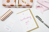 Birthday Girl (coloured spots) A6 Card-Gift Card-dear mabel