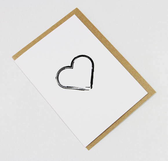 Brushed Heart A6 Card-Gift Card-white linen-dear mabel