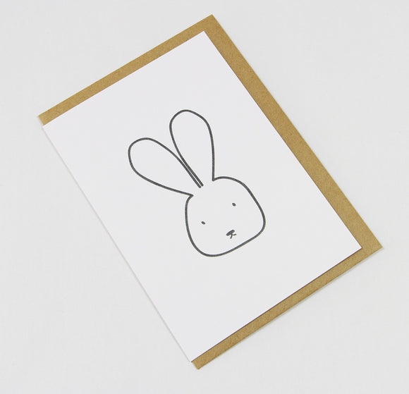 Bunny A6 Card-Gift Card-white linen-dear mabel