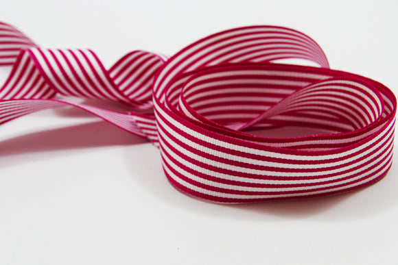 Candy Cane Fuschia and White Stripe Grosgrain Ribbon - 25mm-Ribbon-dear mabel