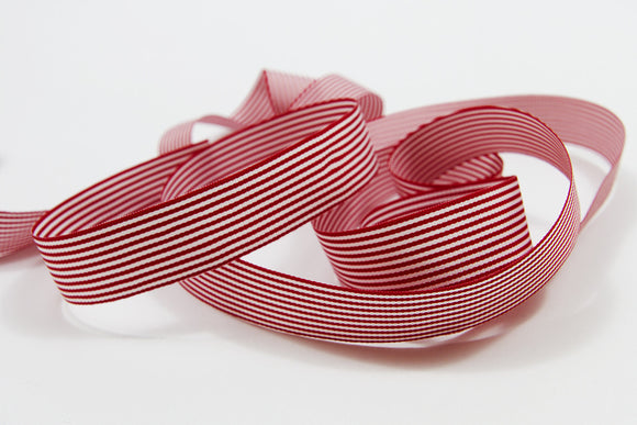 Candy Cane Red and White Stripe Grosgrain Ribbon - 15mm-Ribbon-dear mabel