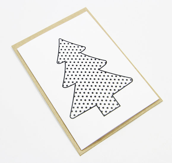 Christmas Tree Spots A6 Card-Gift Card-white linen-dear mabel
