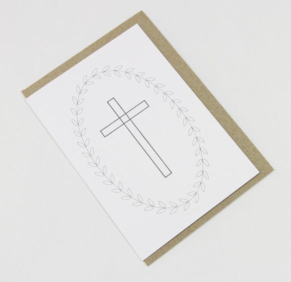 Cross and Wreath A6 Card-Gift Card-white linen-dear mabel