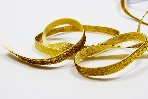 Velvet Glitter Gold Ribbon - 10mm FINAL STOCK