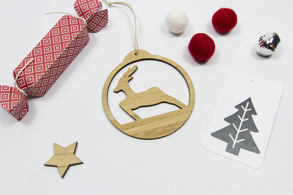 Deer Bamboo Disc ornament-Bamboo Ornament, christmas-dear mabel