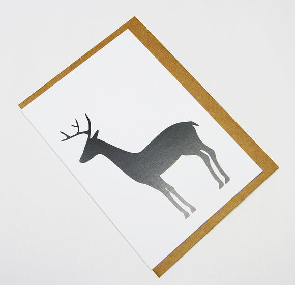 Deer (Black) A6 Card-Gift Card-white linen-dear mabel