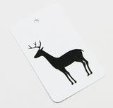 Deer (black) gift tag-Printed Gift Tag-white linen-dear mabel