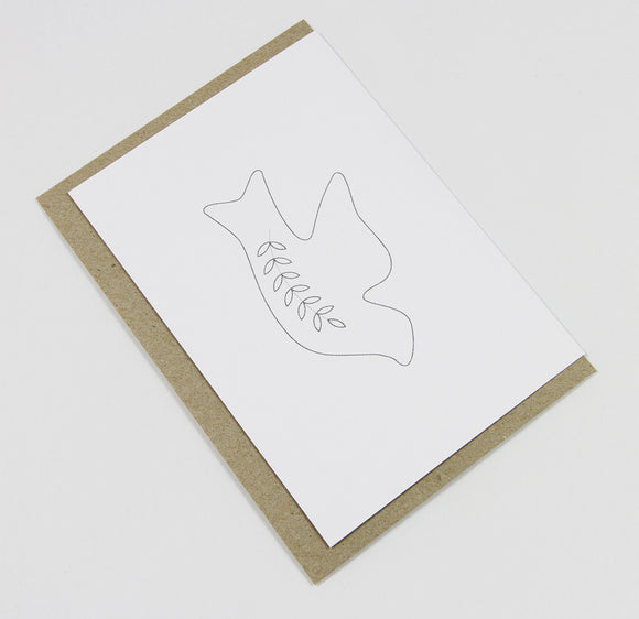 Dove A6 Card-Gift Card-white linen-dear mabel