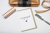 Engaged A6 Card-Gift Card-white linen-dear mabel