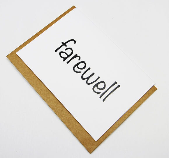 farewell A6 Card-Gift Card-white linen-dear mabel