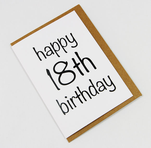 Happy 18th Birthday A6 Card-Gift Card-white linen-dear mabel