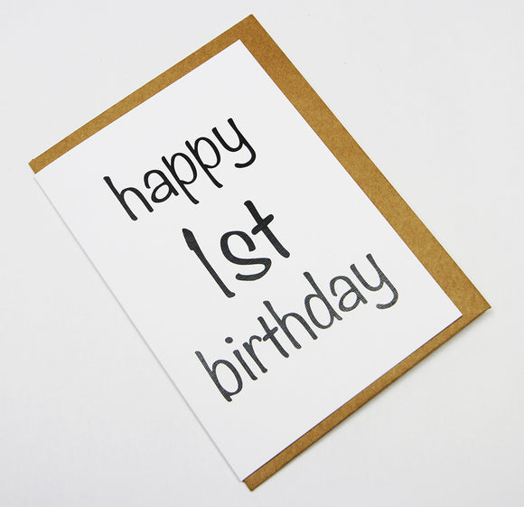 Happy 1st Birthday A6 Card-Gift Card-white linen-dear mabel