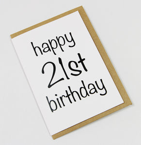 Happy 21st Birthday A6 Card-Gift Card-white linen-dear mabel