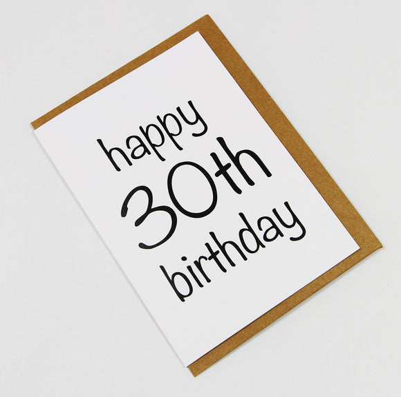 Happy 30th Birthday A6 Card-Gift Card-white linen-dear mabel