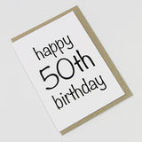 Happy 50th Birthday A6 Card-Gift Card-white linen-dear mabel