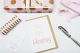 Hip Hip Hooray (pink) A6 Card-Gift Card-white linen-dear mabel