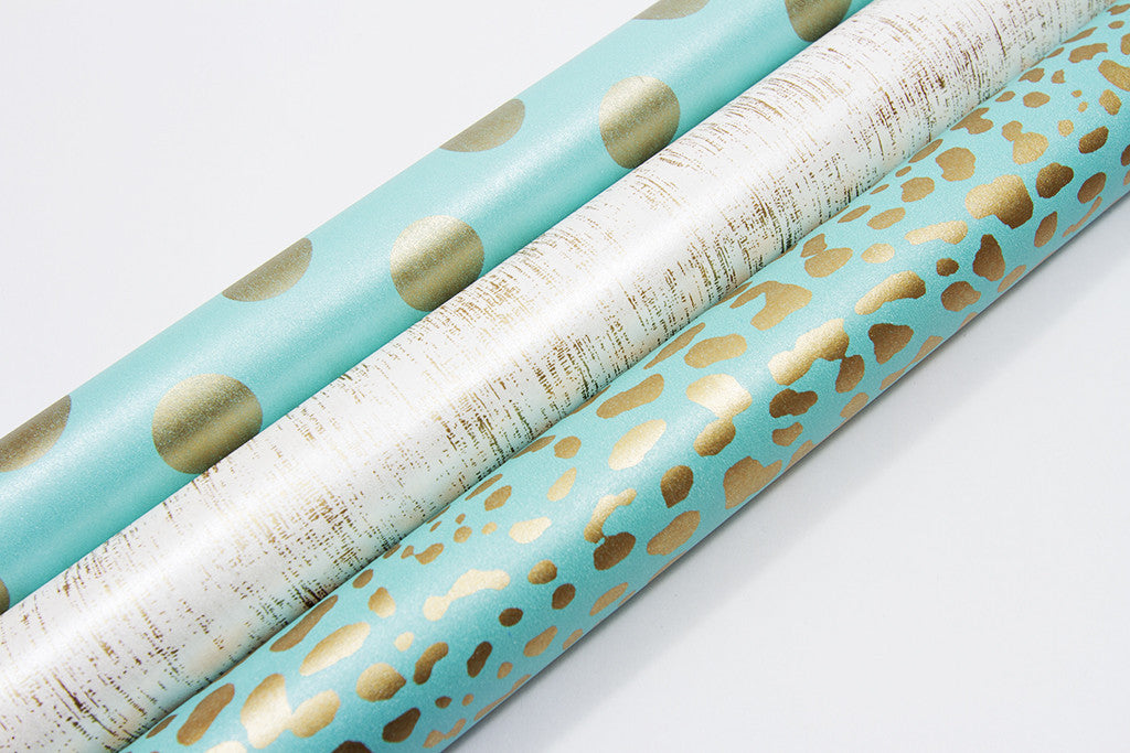... Leopard Turquoise Gold Gift Wrap-gift wrap-dear mabel ...