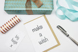 make a wish A6 Card-Gift Card-white linen-dear mabel