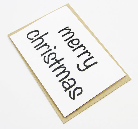 merry christmas (black) A6 Card-Gift Card-white linen-dear mabel
