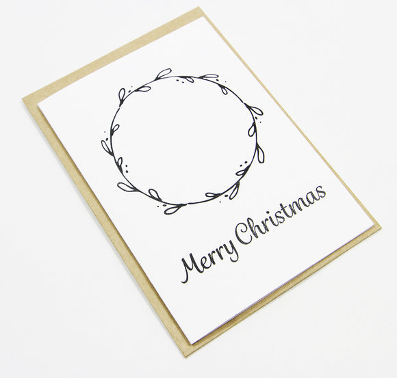 Merry Christmas Wreath A6 Card-Gift Card-white linen-dear mabel