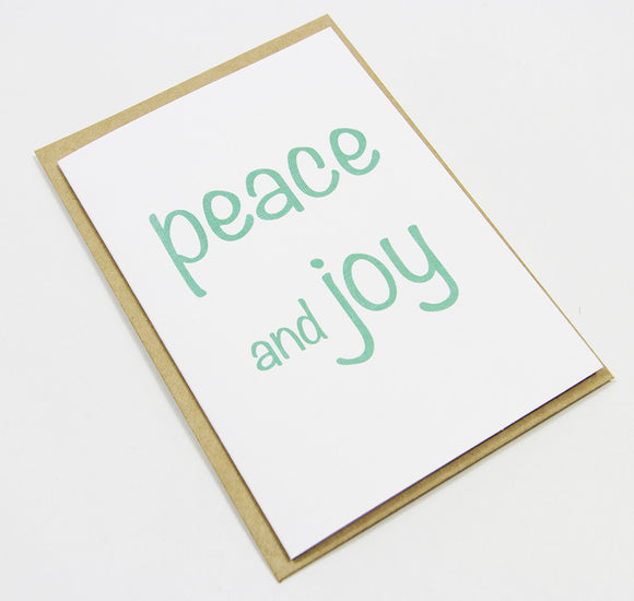 peace and joy (aqua) A6 Card-Gift Card-white linen-dear mabel
