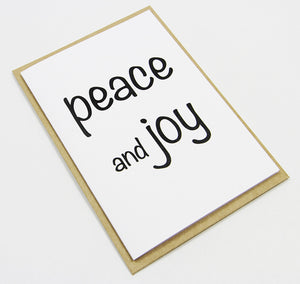 peace and joy (black) A6 Card-Gift Card-white linen-dear mabel
