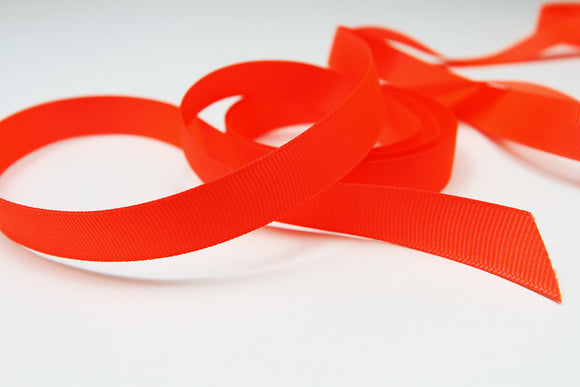 Plain Grosgrain Neon Red Ribbon - 15mm-Ribbon-dear mabel