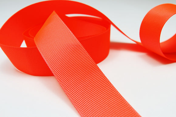 Plain Grosgrain Neon Red Ribbon - 25mm-Ribbon-dear mabel