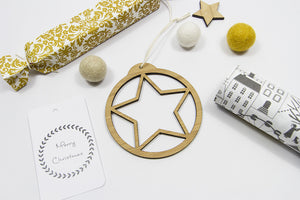 Star Bamboo Disc ornament-Bamboo Ornament, christmas-dear mabel