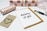 thinking of you A6 Card-Gift Card-white linen-dear mabel