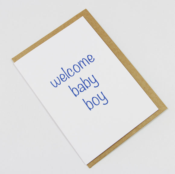 welcome baby boy A6 Card-Gift Card-white linen-dear mabel