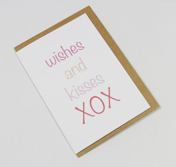 wishes and kisses XOX A6 Card-Gift Card-white linen-dear mabel
