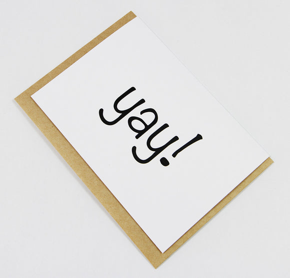 yay! A6 Card-Gift Card-white linen-dear mabel