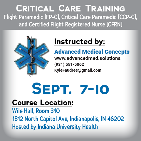 Critical Care Training - Indianapolis Sep 2018